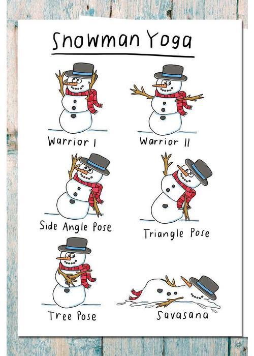 Che Dyer Yoga Postcard - Snowman Yoga