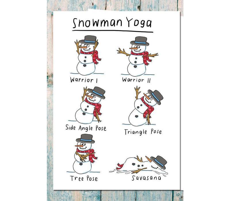 Yoga Postcard - Snowman Yoga