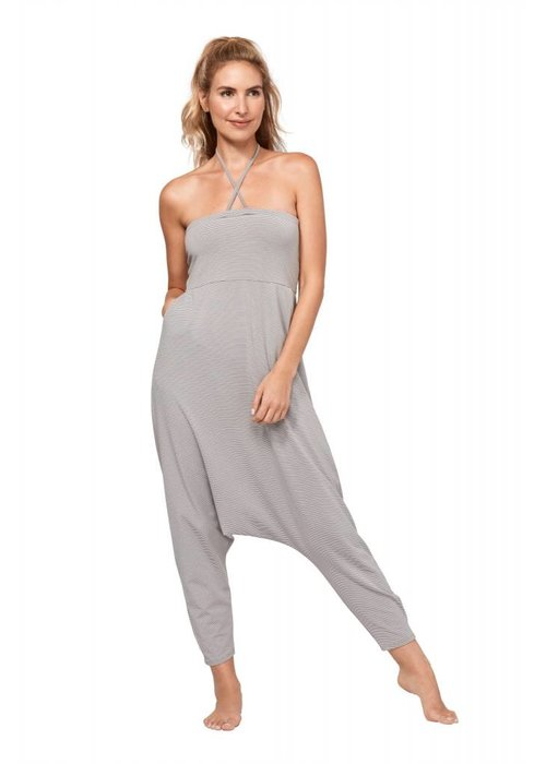 Manduka Manduka Convertible Onesie - White And Grey Stripe