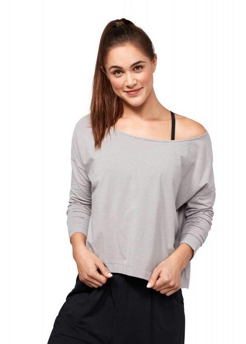 Manduka Manduka Adorn Boxy Top - Grey Stripe