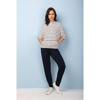 Asquith Mellow Hoodie - Navy/Ivory Stripe
