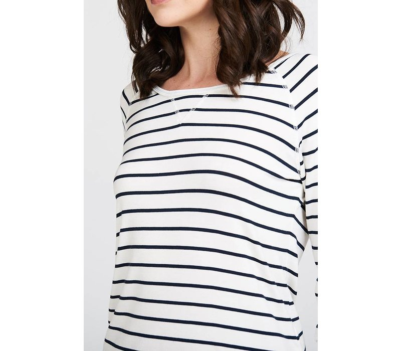 Asquith Boogie Tee - Navy/Ivory Stripe