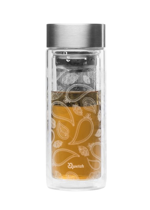 Qwetch Qwetch Tea Travel Thermos Glass - Paisley
