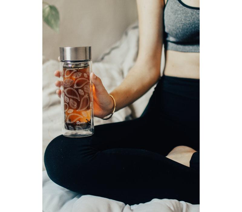 Qwetch Tea Travel Thermos Glass - Paisley
