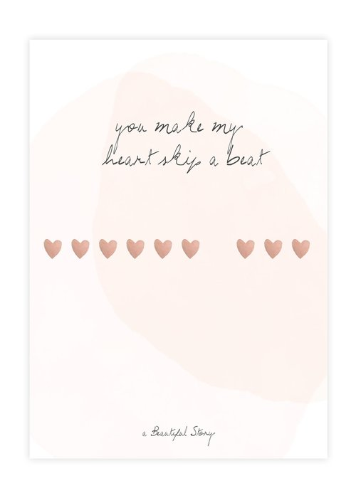 A Beautiful Story A Beautiful Story Greeting Card - Heartbeats Watercolour