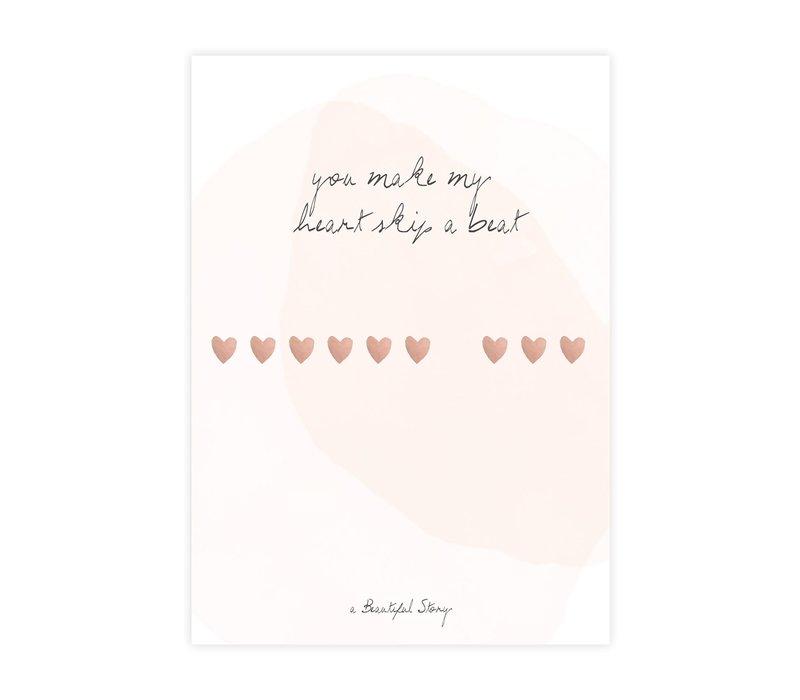 A Beautiful Story Karte - Heartbeats Aquarell