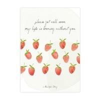 A Beautiful Story Karte - Erdbeeren Aquarell