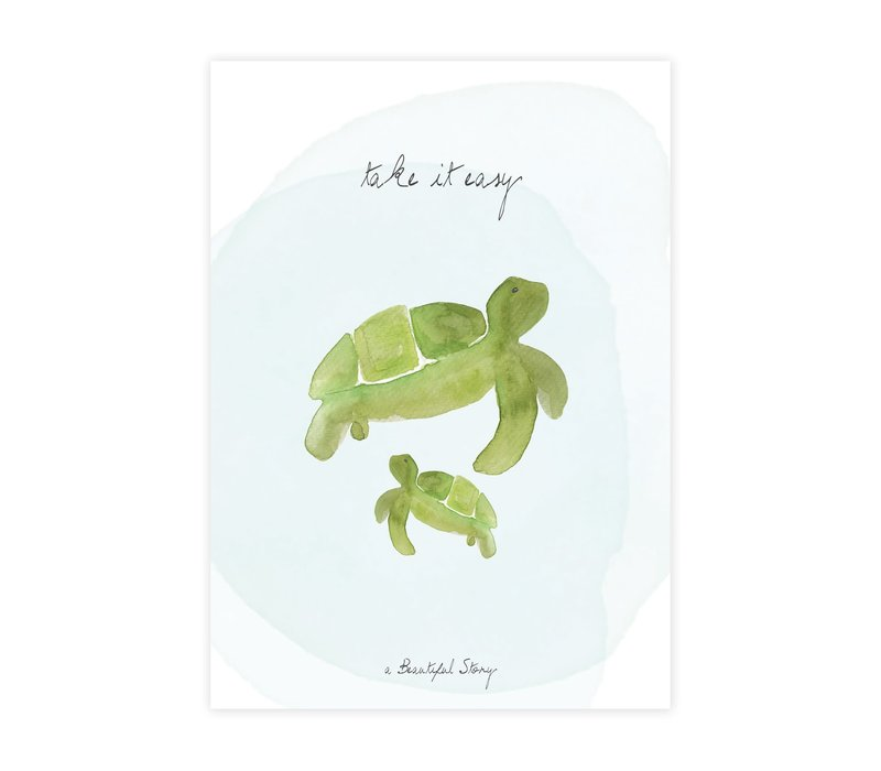 A Beautiful Story Greeting Card - Turtles Watercolour