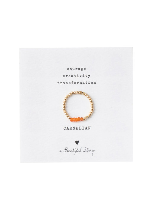 A Beautiful Story A Beautiful Story Beauty Goldener Ring - Karneol