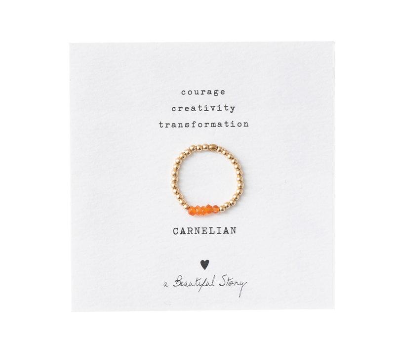 A Beautiful Story Beauty Gouden Ring - Carneool