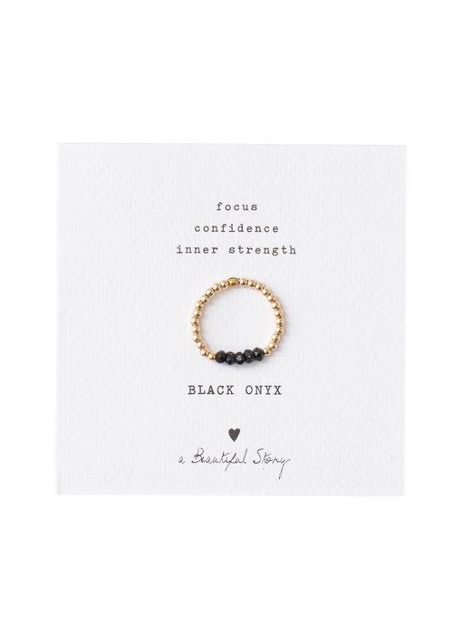 A Beautiful Story A Beautiful Story Beauty Gold Ring - Black Onyx