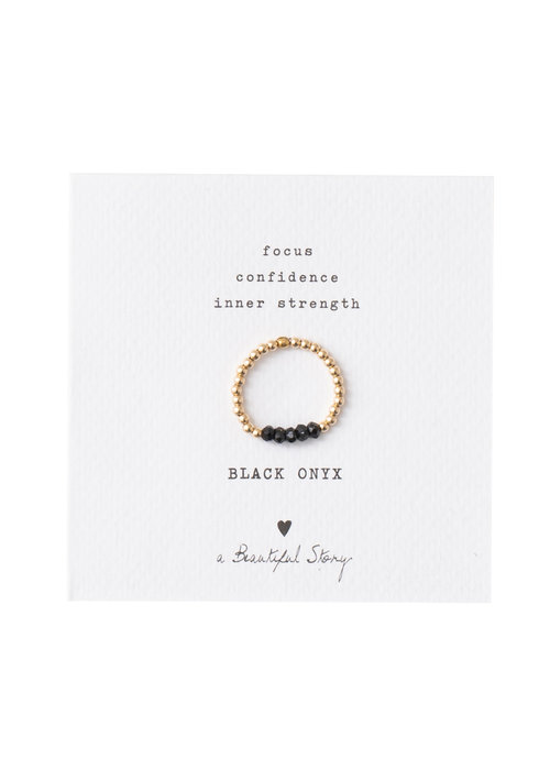 A Beautiful Story A Beautiful Story Beauty Goldener Ring - Schwarzer Onyx