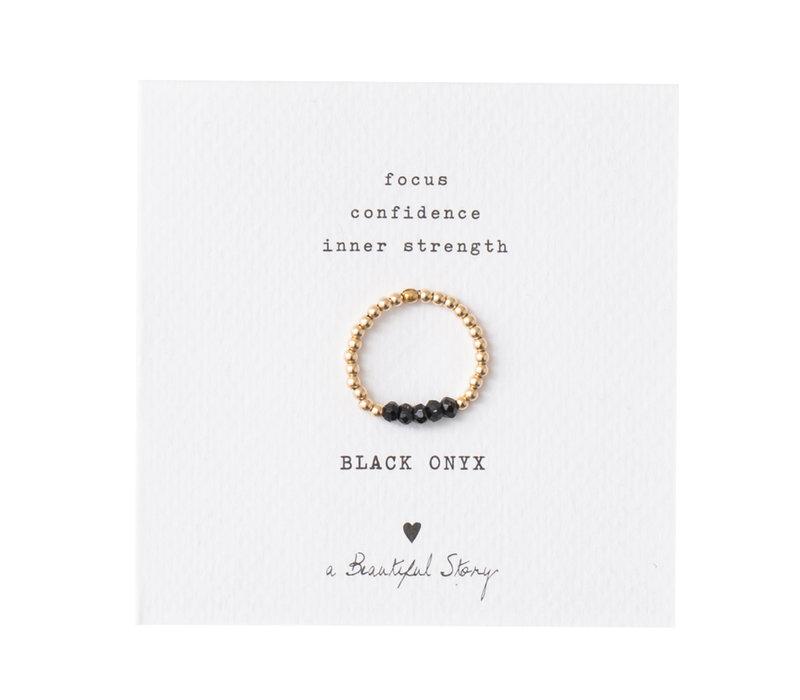 A Beautiful Story Beauty Goldener Ring - Schwarzer Onyx