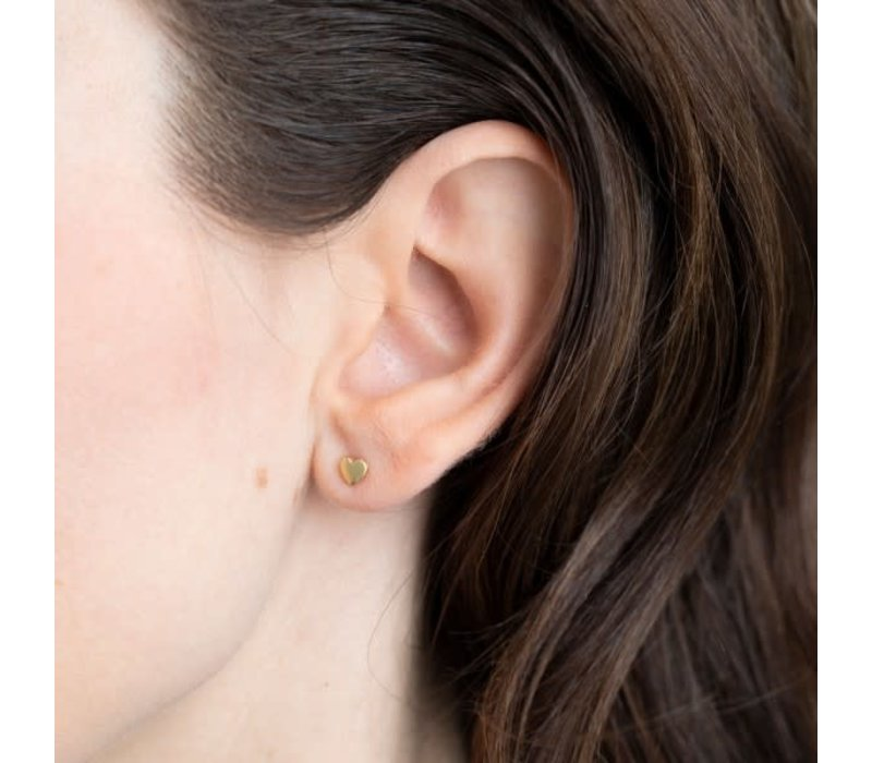 A Beautiful Story Heart Sterling Silver Gold-plated Earring