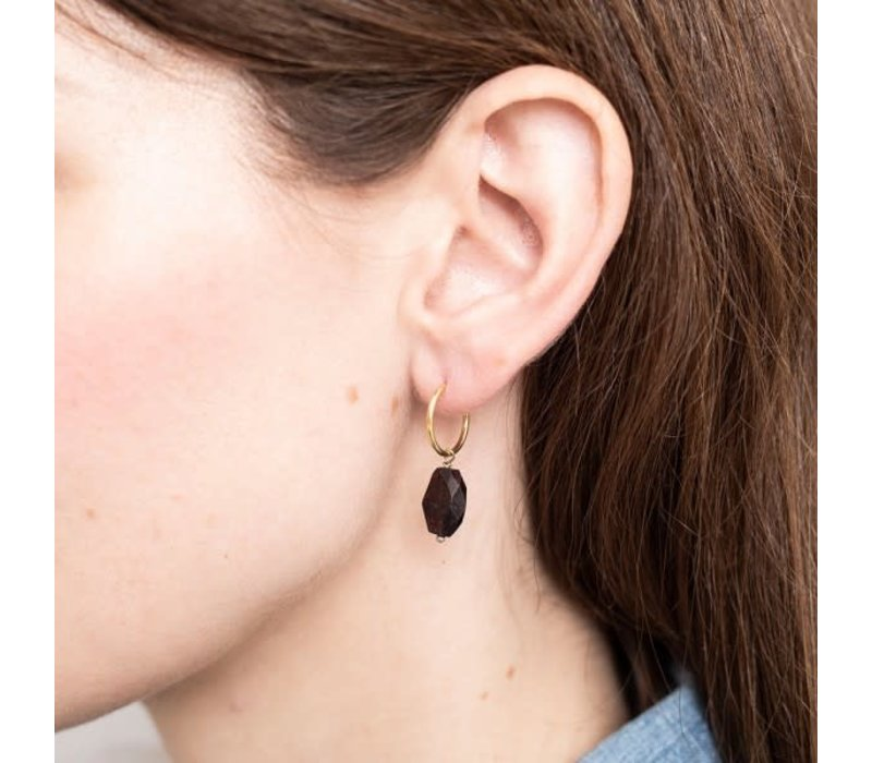 A Beautiful Story Sterling Silver Gold-plated Earring - Black Onyx