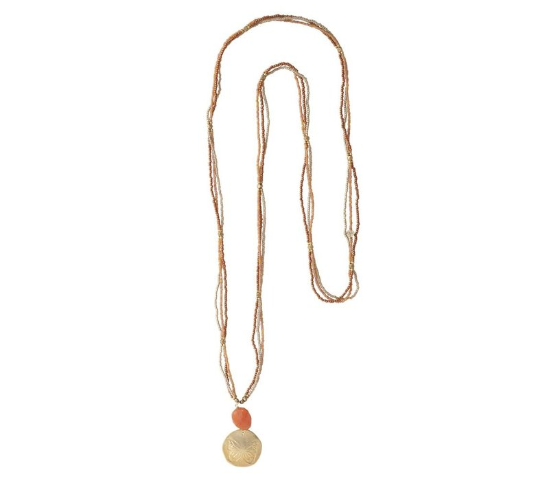 A Beautiful Story Blush Gold Necklace - Carnelian