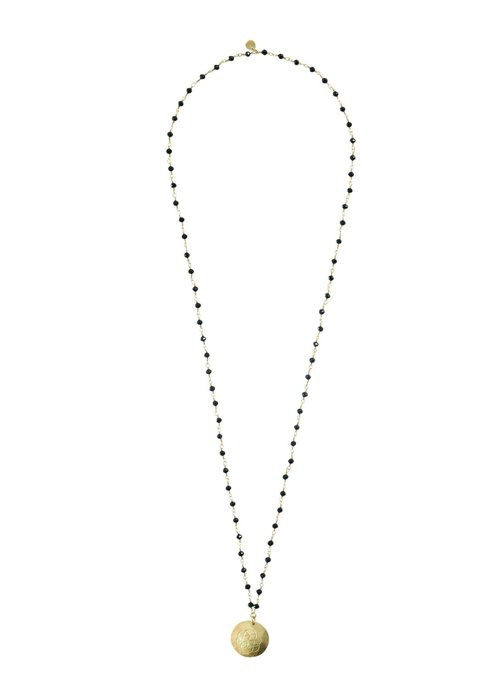 A Beautiful Story A Beautiful Story Rosary Gold Necklace - Black Onyx
