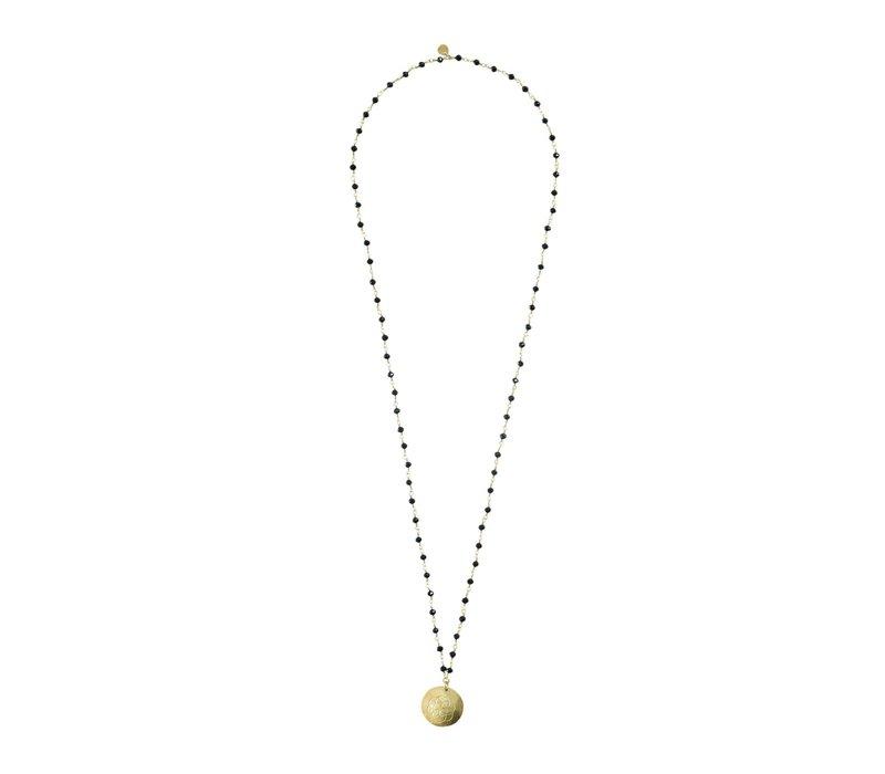 A Beautiful Story Rosary Gouden Ketting - Zwarte Onyx