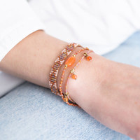A Beautiful Story Breezy Gouden Armband - Carneool