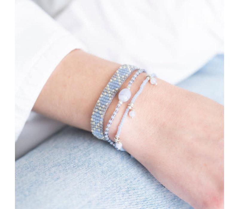 A Beautiful Story Breezy Silver Bracelet - Blue Lace Agate