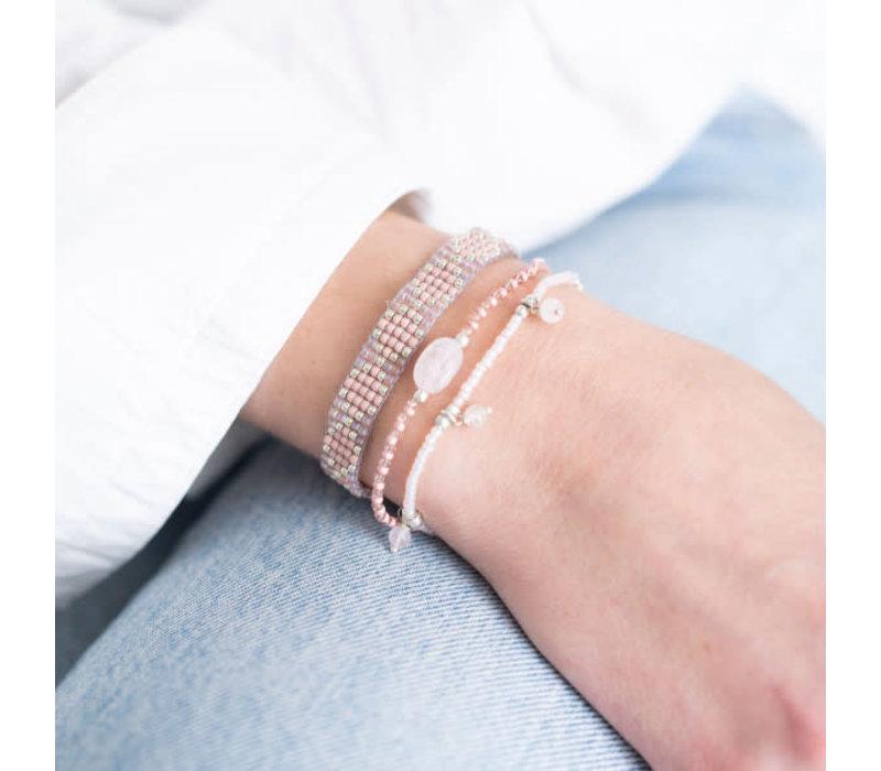 A Beautiful Story Breezy Zilveren Armband - Rozenkwarts