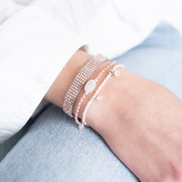 A Beautiful Story Dreamy Zilveren Armband - Rozenkwarts
