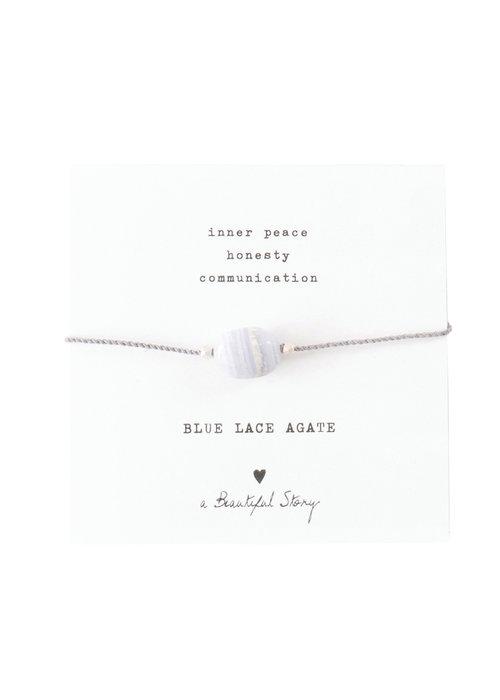 A Beautiful Story A Beautiful Story Edelsteen Kaart - Blauwe Agaat Zilveren Armband