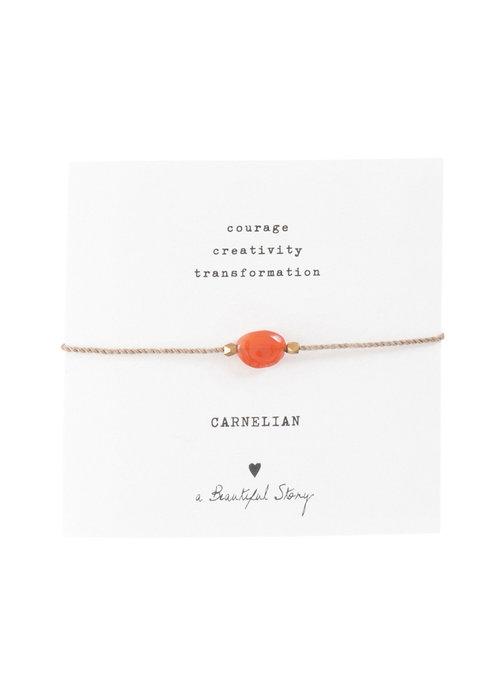 A Beautiful Story A Beautiful Story Edelsteen Kaart - Carneool Gouden Armband