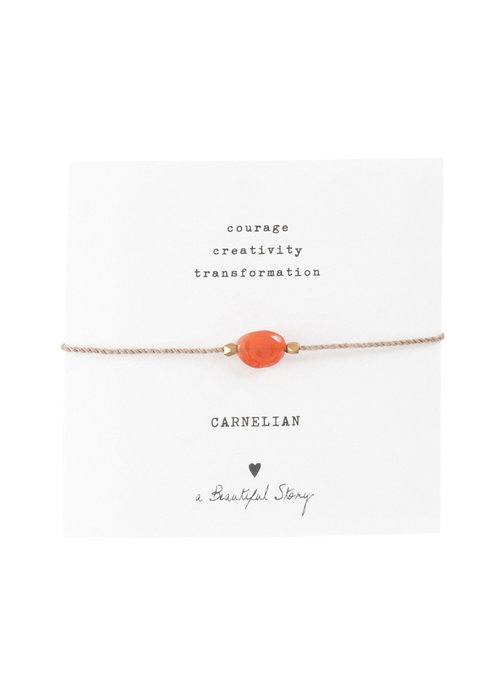 A Beautiful Story A Beautiful Story Edelstein Karte- Karneol Goldenes Armband