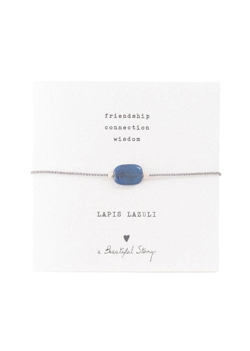A Beautiful Story A Beautiful Story Edelsteen Kaart - Lapis Lazuli Zilveren Armband
