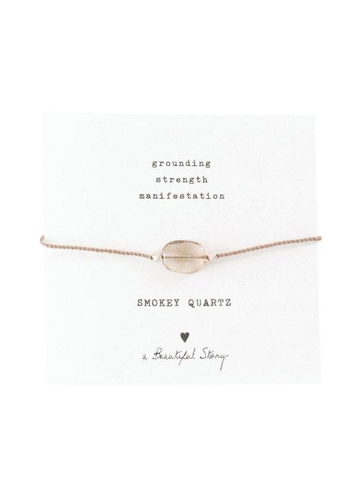 A Beautiful Story A Beautiful Story Edelsteen Kaart - Rookkwarts Zilveren Armband