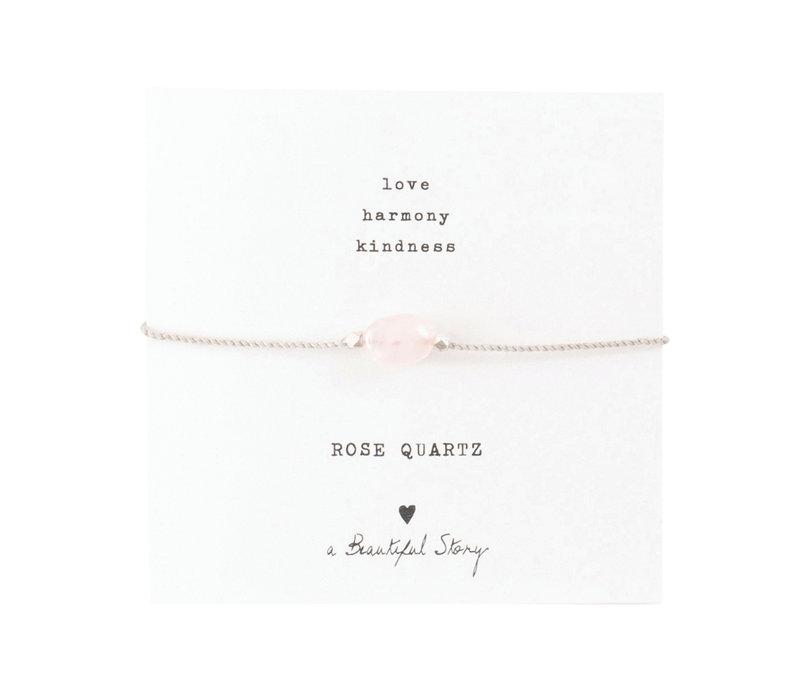 A Beautiful Story Edelsteen Kaart - Rozenkwarts Zilveren Armband