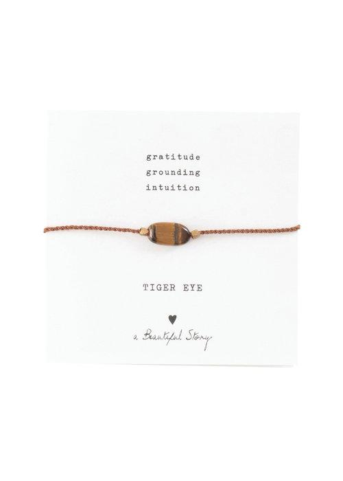 A Beautiful Story A Beautiful Story Edelstein Karte - Tigerauge Goldenes Armband