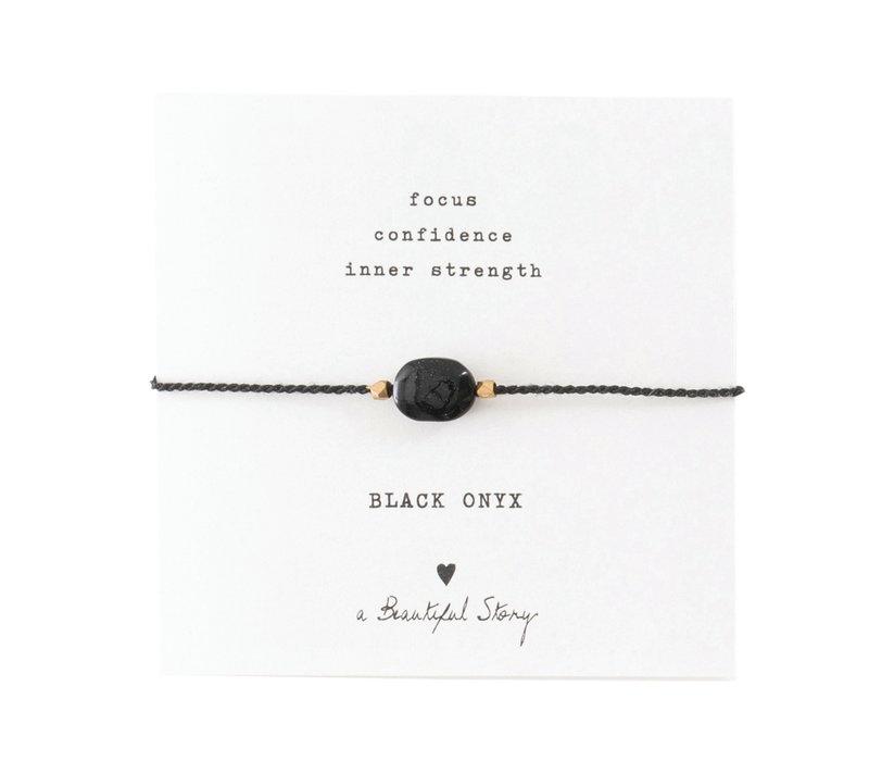 A Beautiful Story Edelsteen Kaart - Zwarte Onyx Gouden Armband