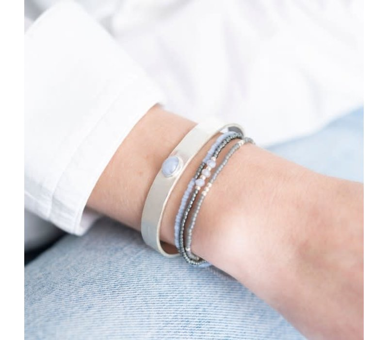 A Beautiful Story Gentle Zilveren Armband - Blauwe Agaat
