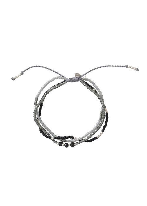 A Beautiful Story A Beautiful Story Gentle Zilveren Armband - Zwarte Onyx