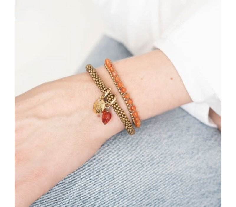 A Beautiful Story Jetty Gouden Armband - Carneool
