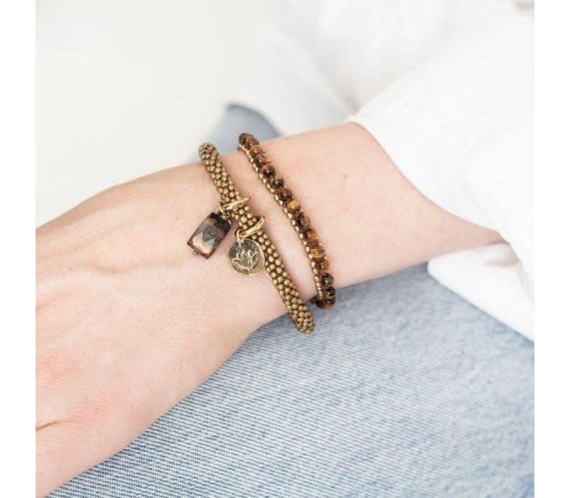 A Beautiful Story Jetty Gouden Armband - Tijgeroog