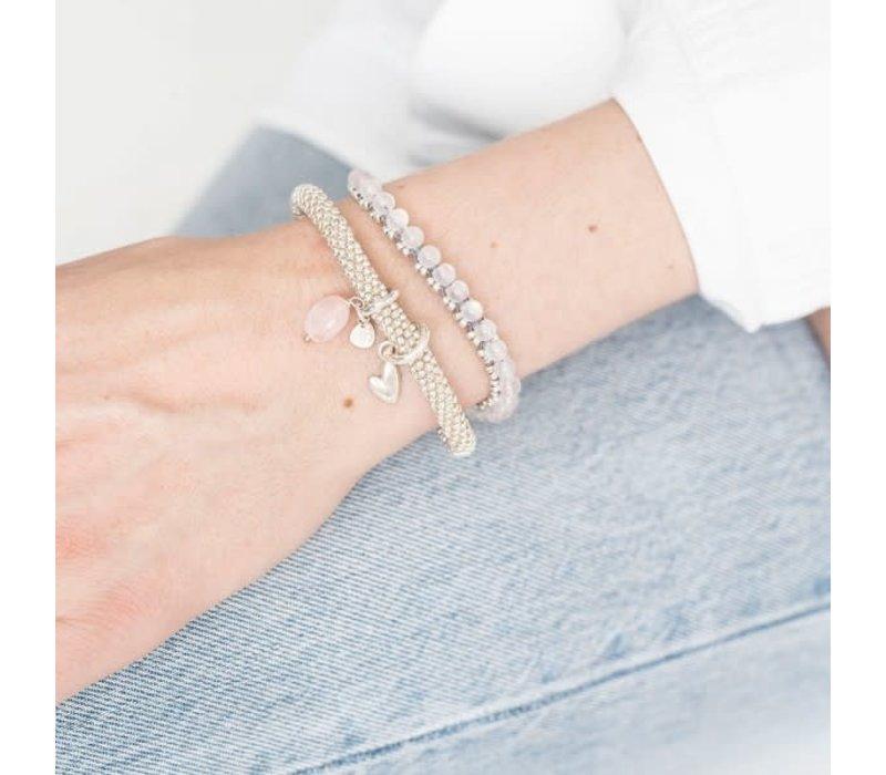 A Beautiful Story Jetty Zilveren Armband - Rozenkwarts