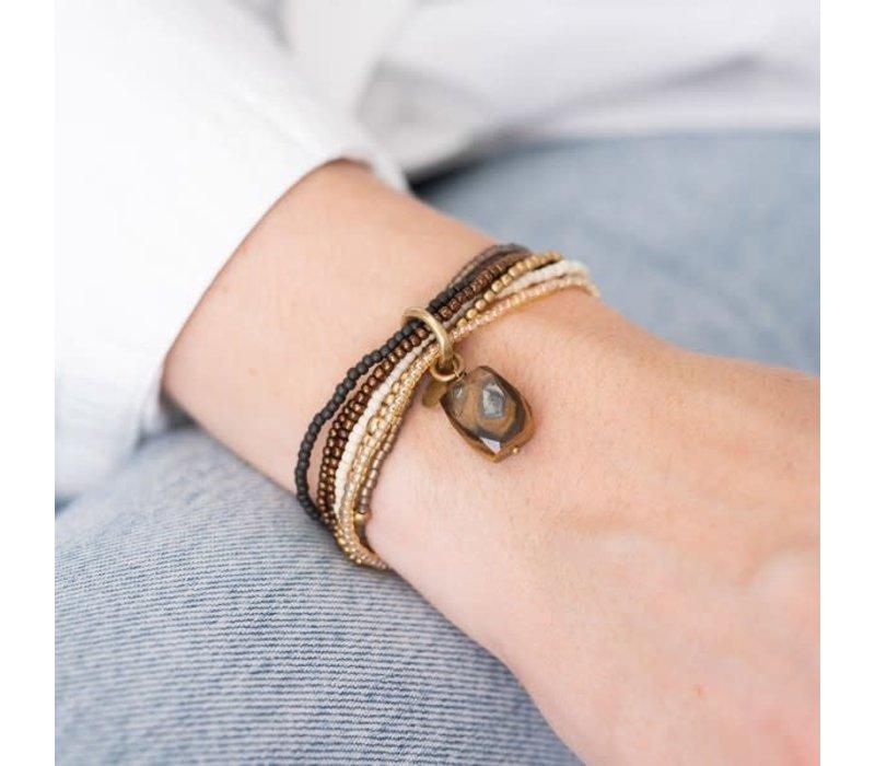 A Beautiful Story Nirmala Gouden Armband - Tijgeroog
