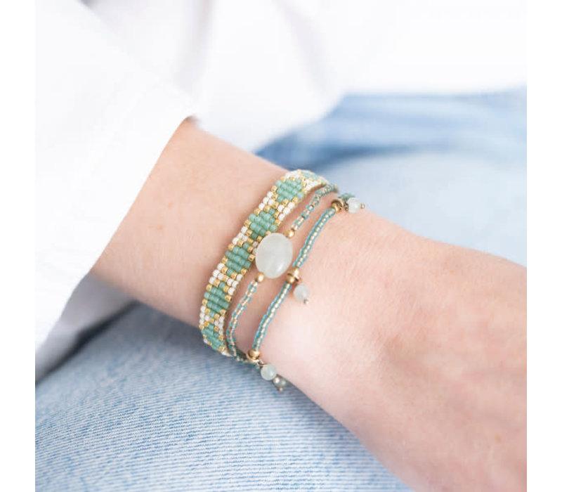 A Beautiful Story Summer Gouden Armband - Aventurijn