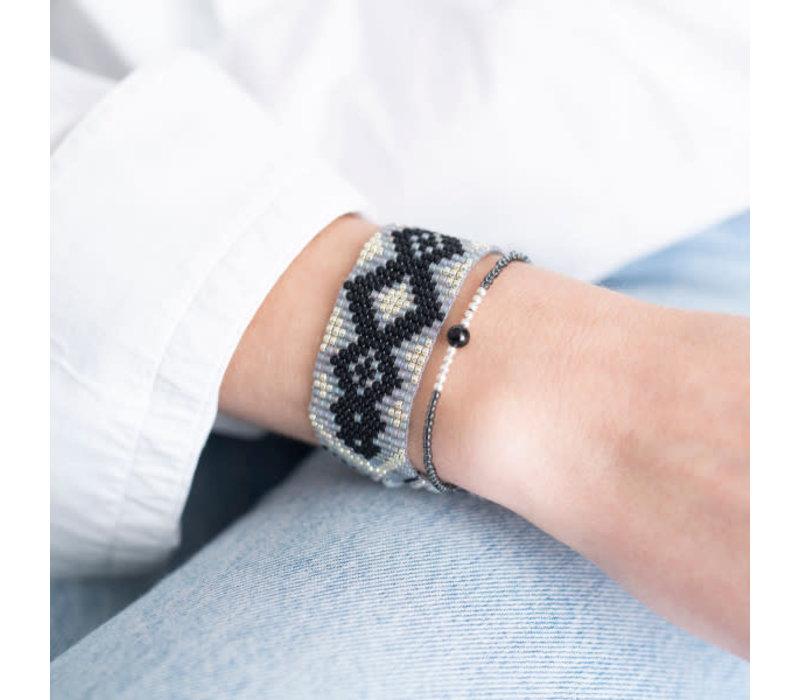 A Beautiful Story Sunset Zilveren Armband - Zwarte Onyx