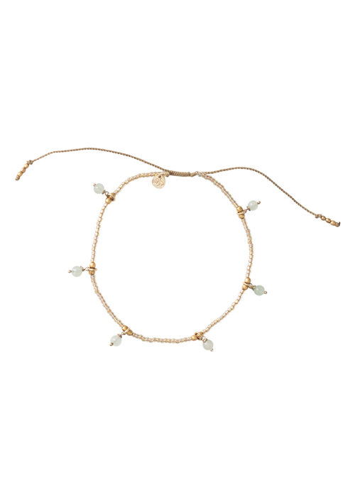 A Beautiful Story A Beautiful Story Dreamy Gold Anklet - Aventurine