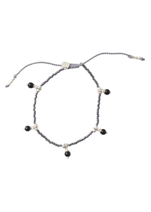 A Beautiful Story A Beautiful Story Dreamy Silver Anklet - Black Onyx