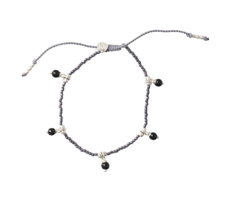 A Beautiful Story Dreamy Silver Anklet - Black Onyx