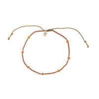 A Beautiful Story Rainbow Gold Anklet - Carnelian