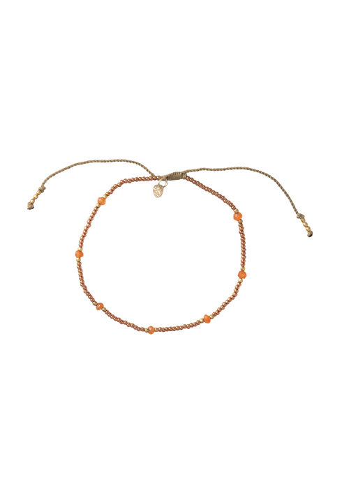A Beautiful Story A Beautiful Story Rainbow Gold Anklet - Carnelian