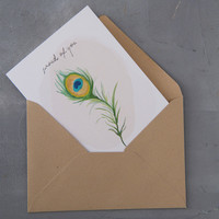 A Beautiful Story Ansichtkaart - Peacock Watercolour