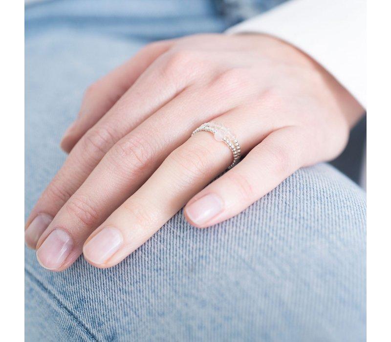 A Beautiful Story Beauty Zilveren Ring - Rozenkwarts