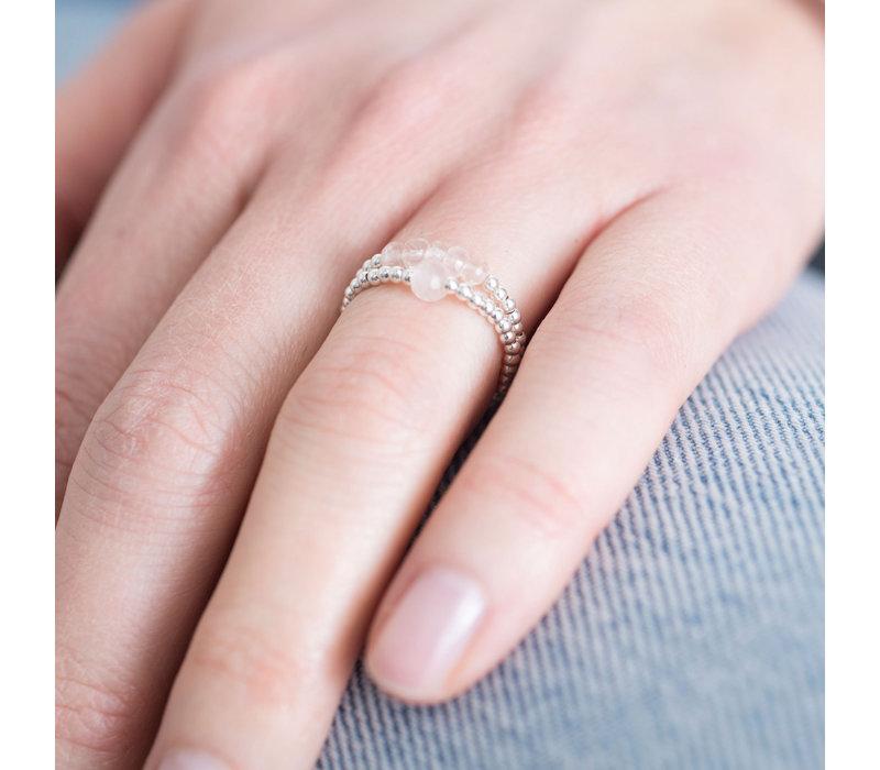 A Beautiful Story Beauty Silber Ring - Rosenquarz